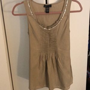 Tan linen blend tank with embellishment